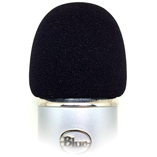 Foam Windscreen for Blue Yeti, MXL, Audio Technica, and Other Large Microphones – Black