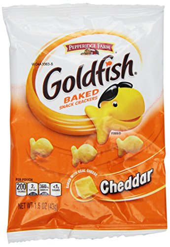 Different mini packs of goldfish crackers