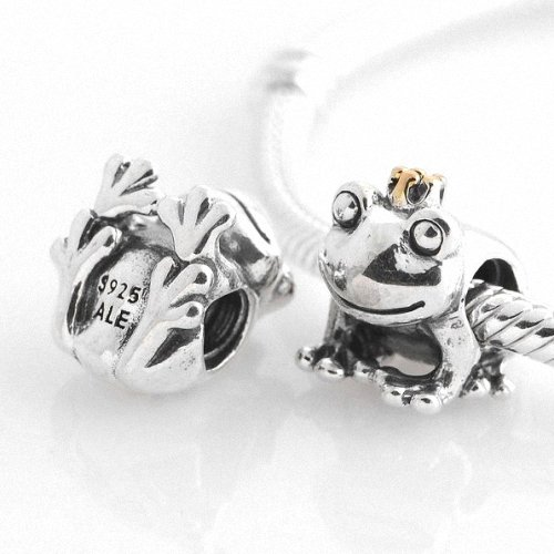 Taotaohas-(1Pc) Oxidized Antique Authentic 100% Solid Sterling 925 Silver Threaded Charm Beads, [ Name: Frog Prince ], Fit European Bracelets Necklaces Chains, Troll, Biagi Glass Charm Beads