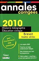 Histoire-Géo, Education civique Brevet toutes séries 2010