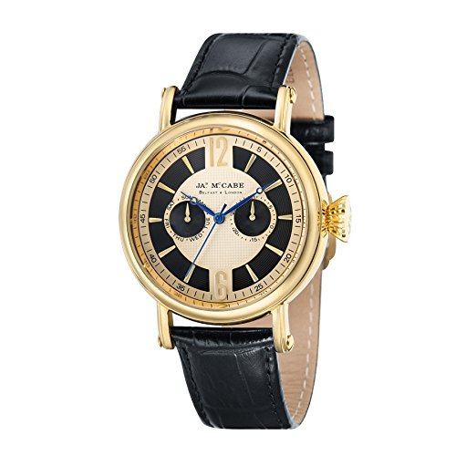 James McCabe Lurgan Multi Function Watch with Black & gold Dial and Black Genuine Leather Strap