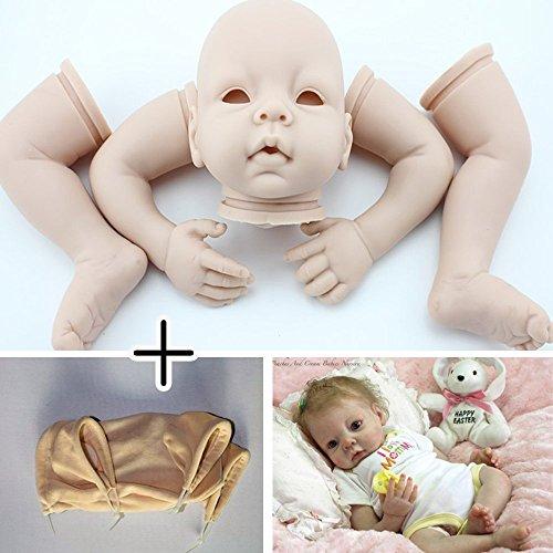Unpainted Reborn Doll Kits(head,limbs and cloth body) Newborn Baby Model Set DIY,22-Inch Soft Vinyl Silicone
