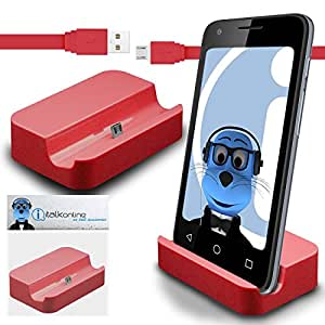 iTALKonline MicroMax YU Yutopia YU5050 Red Micro USB Sync & Charge / Charging Desktop Dock Stand Charger with 1.2 meter High Quality FLAT USB to MicroUSB Sync and Charge Cable