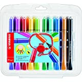 STABILO Cappi Fibre Tip Colouring Pens with Triangular Grip Zone - Assorted Colours (Pack of 18)