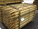 5 Pack Rounded stakes 1.8m x75mm. Pointed Fencing Posts, 6ft high. Tanalised timber
