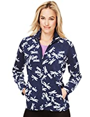 Funnel Neck Dragonfly Print Fleece Jacket