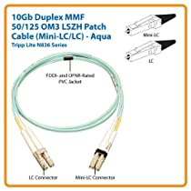 Tripp Lite 10Gb Duplex Multimode 50/125 OM3 LSZH Fiber Patch Cable (Mini-LC / LC) - Aqua, 10M (33-ft.)(N836-10M)