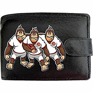 England English Rugby Gorilla Caricatures Mens Soft Black Leather Wallet Novelty gift Joke Printed Picture