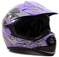 Youth Offroad Gear Combo Helmet Gloves Goggles DOT Motocross ATV Dirt Bike MX Motorcycle Purple - Large by Typhoon Helmets
