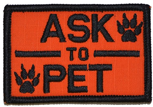 Read About Ask to Pet, K9 Dog Patch - 2x3 Morale Patch (Orange)