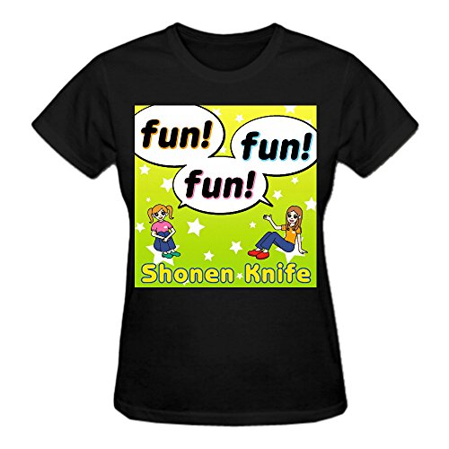 Shonen Knife Fun Fun Fun Premium cotton Funny Tee Shirts For Women Crew Neck Black