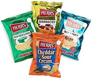 Herr's 4-Flavor Variety Pack Potato Chips, 1-Ounce Bags (Pack of 42)