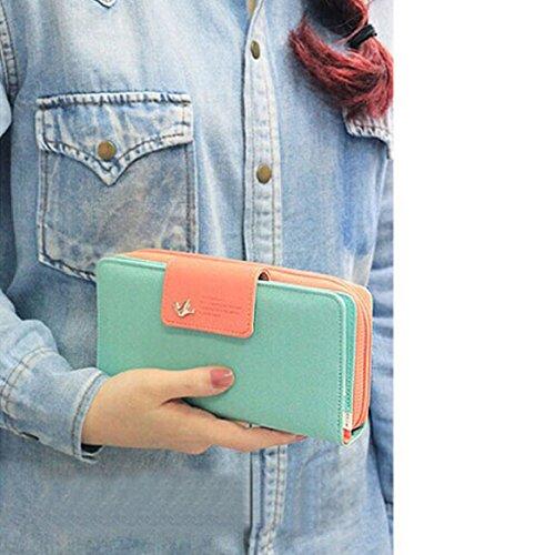 Chianrliu® Damen PU Leder Geldbörse Damen Portemonnaie Damen Geldbeutel - Lang versch. Farben (Hellblau)
