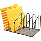 DecoBros Desk File Sorter Organizer, 5 Sections, Black