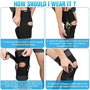 Nvorliy Hinged ROM Knee Brace Adjustable Knee Immobilizer Support for Arthritis, ACL, PCL, Meniscus Tear, Tendon, Osteoarthritis, Post OP Recovery - Leg Stabilizer for Men & Women (Large) (Tamaño: Large)