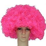 ボンバー アフロ ウィッグ ネット 付き パーティー セット /コスプレ 仮装 衣装 コスチューム (ピンク +ネット)