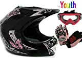 Youth Black Pink Butterfly Dirt Bike Atv Motocross Helmet with Goggles Gloves (Large)
