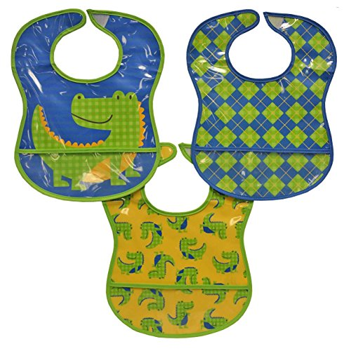 Bibsters 3 Piece Toddler Bib, Alligator - 1