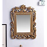 MDF Square Shape Wall Decorative Mirror Frame Brown By Artesia