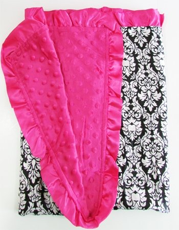 "Satin Minky Dot Baby Blanket - 30""x30"" Soft Satin with Matching Minky Side (Hot Pink Damask) - 1"