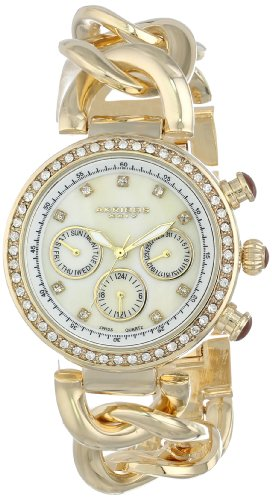 Akribos XXIV Women's Lady Diamond Gold-Tone Chain Link Watch
