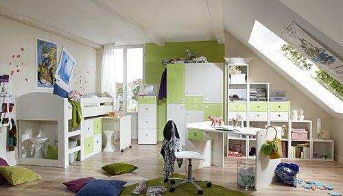 Jugendzimmer 2-t.g in Alpinweiß mit Abs. in Apfel-Grün, 3-trg. Kleiderschrank B. 135 cm, Hochbett mit Schreibtisch und Kommode B: 204 cm online kaufen