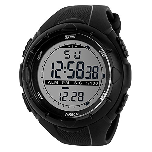 Skmei SK1025BLK Sports Digital Watch with Stopwatch , Alarm – Black Dial – For Men and Boys
