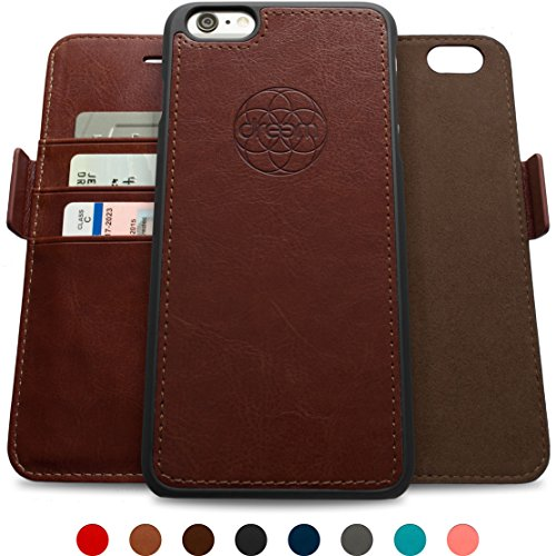 Dreem iPhone 6/6s PLUS Wallet Case with Detachable SlimCase, Fibonacci Luxury Series, Vegan Leather, RFID Protection, 2 Kickstands, Gift Box - Dark Brown (Electronics I Phone 6 Plus Cases compare prices)