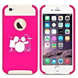 Apple iPhone 6 6s Shockproof Impact Hard Case Cover Drum Set Hot PinkWhite