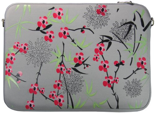 DIGITTRADE LS104-17 Designer Notebook Sleeve 17.3″ Laptop Cover Sakura Neoprene Soft Carry Case up to 17.3 Inch Anti Shock System
