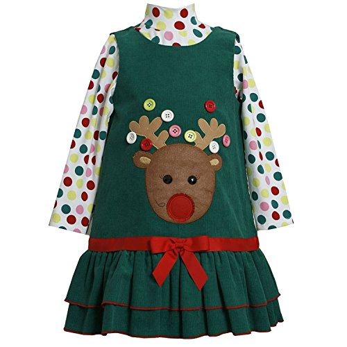 Bonnie Jean Collection: Button Reindeer Christmas Dress (5 With Bracelet For Mom)