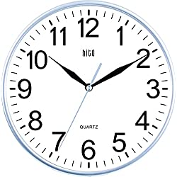 HITO Modern Colorful Silent Non-ticking Wall Clock- 10 Inches (Silver)
