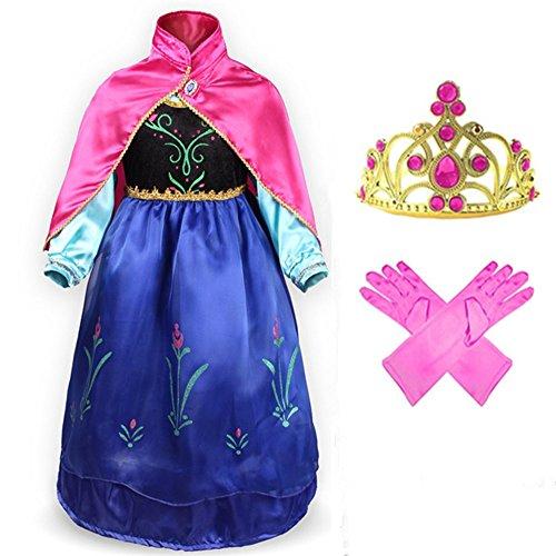 GenialES Disfraz Vestido con Capa Guantes Diadema Fucsias de Princesa Lindo Regalo Cumpleaños Disfraz de Carnaval Fiesta Cosplay Boda Halloween para Niñas Talla 150 (6-7 Años)