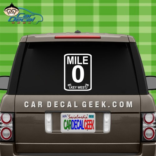 Key West Mile Marker 0 Car & Truck Window Decal Sticker, Laptop Decal Sticker, Macbook Decal Sticker, Wall Decal Sticker , 8-Inch , White (Mile Maker compare prices)