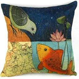 Leaveland Bird & Fish in the Two World Forever Throw Pillow Case Sham Decor Cushion Covers Square 18*18 Inch Beige Cotton Blend Linen
