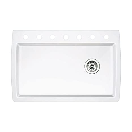 Blanco 440195-7 Diamond 7-Hole Single-Basin Drop-In or Undermount Granite Kitchen Sink, White