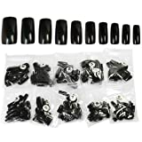 500 French Acrylic Artificial Full False Nail Art Tips (Black)