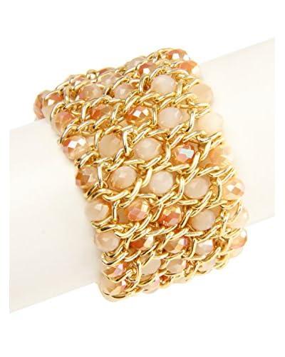 Saachi Champagne Wide Layered Beaded Chain Bracelet