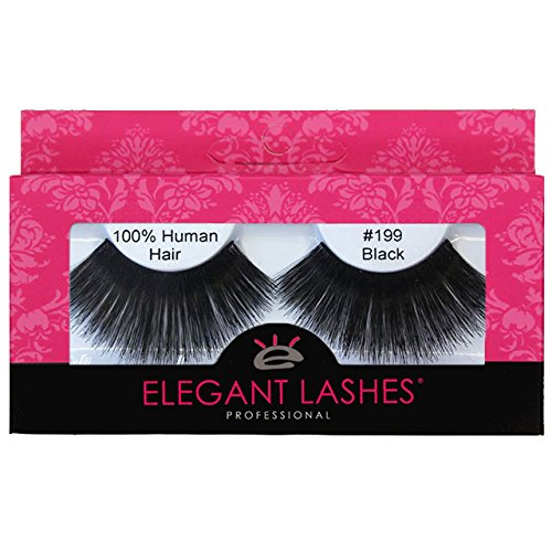 Elegant Lashes #199 Black Thick Super-Long 100% Human Hair False Eyelashes for Dancers, Drag Queen, Halloween, Costume, Rave (Super Long Eyelashes compare prices)