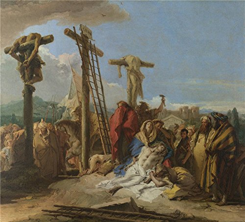 High Quality Polyster Canvas ,the Reproductions Art Decorative Canvas Prints Of Oil Painting 'Giovanni Domenico Tiepolo The Lamentation At The Foot Of The Cross ', 20 X 22 Inch / 51 X 56 Cm Is Best For Gym Gallery Art And Home Gallery Art And Gifts