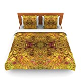 "Kess InHouse Nikposium ""Goldenrod"" Gold Yellow King Fleece Duvet Cover, 104 by 88-Inch"