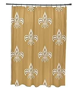 E by design scfn354ye6br5 fleur de lis ikat print shower curtain 71 x 74 gold - Fleur de lis shower curtain hooks ...