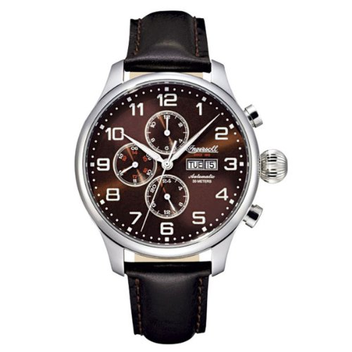Ingersoll Gents Brown Dial Black Leather Strap Watch