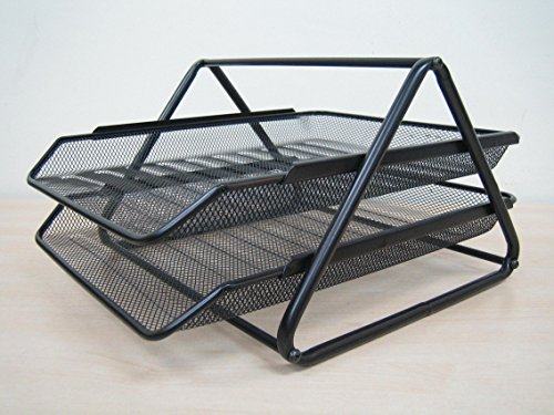 2 Tier Magazine Newspaper Tray Metal Mesh Desk Organiser