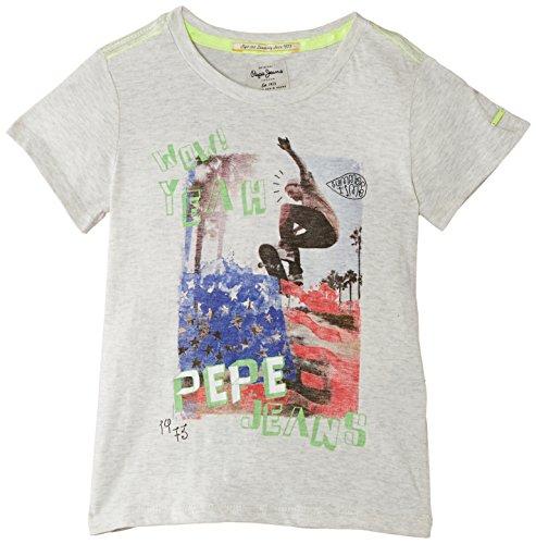 Pepe Jeans Jungen T-Shirt, FABIO, GR. 176 (Herstellergröße: 16 ans), Grau (Lt Grey Marl)
