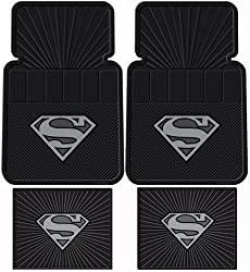 Superman DC Comics Silver Flake - Front &amp; Rear Rubber Car Floor Mat Set