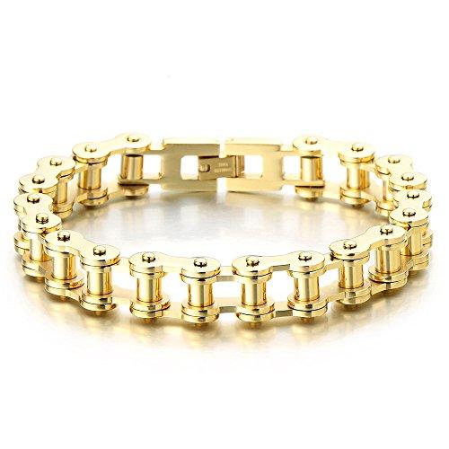 Classique – Or Bracelet Chaîne de Vélo – Bracelet en Acier Inoxydable Pour  Homme – Poli Mirro b9f90d00c826