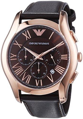 0a0dbe9f3b51   ) Emporio Armani Chronograph Brown Dial Brown Leather Strap Mens ...