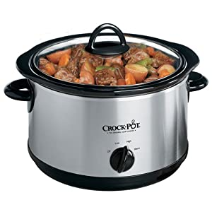 Crock-Pot SCR503UM 5-Quart Round Manual Slow Cooker with Dipper, Stainless Steel