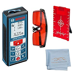 Bosch GLM 80 Laser Distance Measurer Kit, Includes: Bosch GLM 80 265-Feet Lithium-Ion Laser Distance Measurer - Red Laser Glasses for Distance Meters - Red Magnetic Floor Target Plate w/Stand - Tiger Supplies Cleaning Cloth